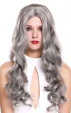wig Me Up PERRUQUE pour femme Long Ondulé raie au milieu gris argenté 6070-701