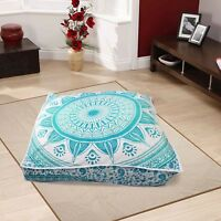 Ottoman Pouf Cover Elephant Mandala Indian Square Floor Pillow Cover Big Cushion