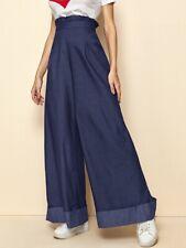 Ladies Wide Leg High Waist Trousers Jeans Size L 12