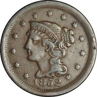 1852 1C Braided Hair Large Cent  VF Details  (050221308)