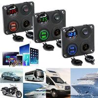 12-24V Boat Truck Car LED Voltmeter USB Charger Sockets Plug Panel Mount ON/OFF