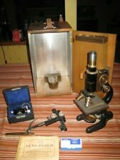 Vintage Bausch & Lomb Science Medical Lab Microscope Wood Case Metal Sided EXTRA