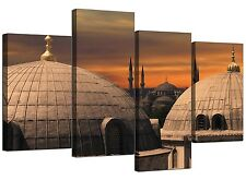 Islamic Canvas Wall Art Print of Blue Mosque Istanbul for Living Room - Orange