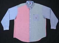 NWOT Vintage 90s Tommy Hilfiger Color Block Lion Crest Mens Long Sleeve Shirt XL