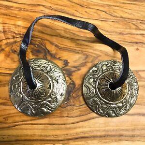 Hand Made Tibetan Tingsha Bells Cymbals 4.5cm Dragon Nepal Bronze Buddhist