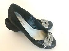 Laura Ashley Wineberry Low Wedge Pumps Black Silver Chain Embellished Women 6M