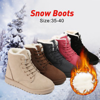 Fashion Women Winter Warm Martin Boots Flat Lace Up Fur Lined Snow Ankle Shoes