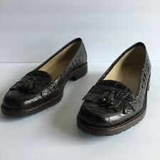 Talbots Brown Leather Animal Print Tassel Loafers Slip Ons Women's Size US 7.5W