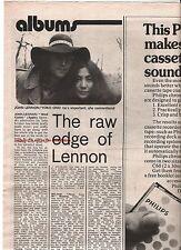 JOHN LENNON Mind Games album review 1973 UK ARTICLE / clipping - BEATLES