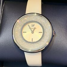 Swarovski White Sparkly Watch Leather Strap Authentic In Box