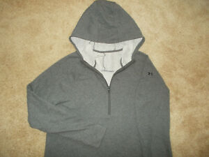 NEW UNDER ARMOUR 1/2 ZIP LONG SLEEVE X-TRA LONG HEATHER GRAY HOODIE WOMENS 2XL