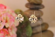 Solid 14k Yellow White Pink Gold Rose cluster Stud Earrings Nice Black Hills Tri
