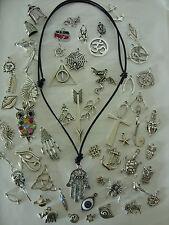 Black ADJUSTABLE REAL LEATHER Cord Tibetan Silver Charm Pendant Necklace,Choker