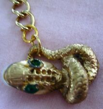 """Vntage Retro Coiled Snake pendant 1""""X 3/4"""" gold plated on gold tone necklace 15"""""""