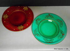 2 Glass Red & Green Christmas Color Saucers with Rhinestone Decoration.