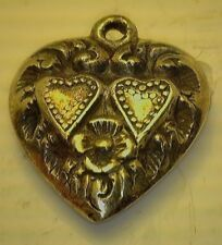 Heart Double Hearts Design #Ut301 Antique 1940's Sterling Silver Puffy