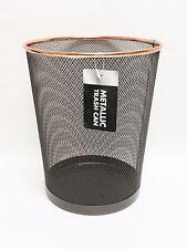 NEW METALLIC BLACK METAL MESH WITH ROSE GOLD TRIM ROUND TRASH CAN+WASTE BASKET