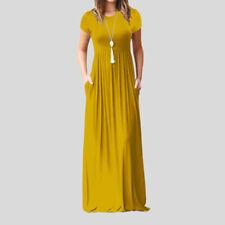 Womens Boho Casual Cotton Short Sleeve Evening Party Beach Dress Long Maxi Dress