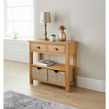SB19 High Quality Wooden Wiltshire Oak Rustic Console Table with Storage Baskets