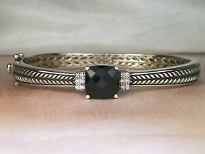 Effy 925 Sterling Silver Onyx and Diamond Hinged Bangle 4.26 TCW 7 Inch