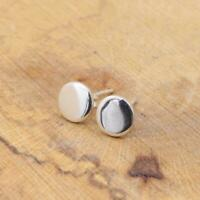 Round Plain 925 Sterling Silver Stud Earrings 8mm Jewellery