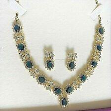 Gold Statement Necklace & Earrings, Blue Sapphire + Sim Diamond, 18k GF RRP £150