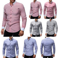 NEW Luxury Shirts Mens Casual Formal Slim Fit Business Work Shirt Tops Clothes