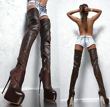 MADE IN ITALY HIGH HEELS STRETCH FO3 SNAKE LEATHER LOOK BOOTS STIEFEL BRAUN 42