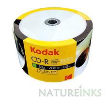 50 Kodak Hub Inkjet Printable White Blank CD-R 52x 700MB 80 minutes CD Discs