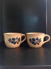 Pfaltzgraff Cups Folk Art Design, tan with cobalt blue set of 2