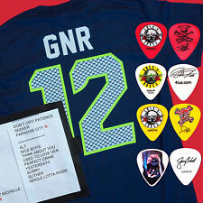 GUNS N ROSES 2016 WA Concert. Exclusive 12's T-shirt, 4 Guitar Pick & Setlist.