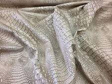 Sand Crocodile Faux Leather Vinyl Embossed Fabric Scales. Sold By The Yard.