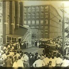 Antique Magic Lantern Glass Slide Photo Old Cars Gathering Of People
