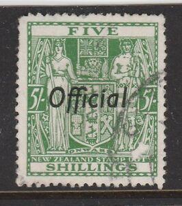 1938 NZ 5/- Green Arms OFFICIAL Sg O119 CV £65