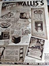 M3-2 Ephemera 1937 Advert Thomas Wallis & Co Ltd Holborn Circus Xmas Gifts