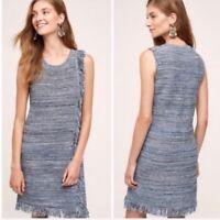 Holding Horses Anthropologie Blue Fringe Knit Sleeveless Sweater Dress Size XS