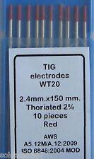 10  Electrodos de TUNGSTENO para Soldadura TIG de 2,4x150 mm 2%Th ROJOS Soldador