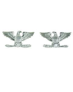 1 PAAR U.S. ARMY USAF COLONEL CAP HAT BADGE PINS RANKS SILBER NEU