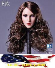 1/6 Female Head Sculpt long curly hair B for Kumik Phicen Hot Toys❶USA IN STOCK❶