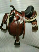 "Carved On Australian Stock leather saddle 17"" with tack set / All sizes"