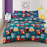 Multi Colour Owl Printed Duvet Cover Bedding Set Single Double King Cotton Rich