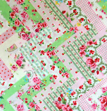 PINK & Green Cotton PATCHWORK QUADRATI DI TESSUTO BUNDLE floreale a Pois Percalle 30 x 5""