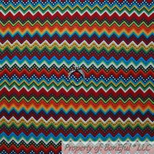 BonEful FABRIC Cotton Quilt VTG Rainbow Chevron Stripe Southwest Aztec Red SCRAP