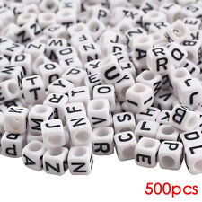 500 White Alphabet Beads 6mm Cube Mixed Letters Mostly Mixed