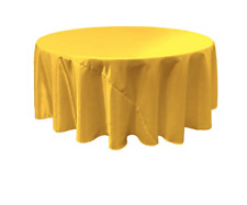 LA Linen Bridal Satin Round Tablecloth, 132-Inch, Yellow