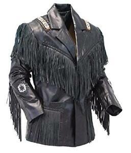 Men Black Western Cowboy Real Leather Jacket With Fringe