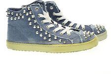 FRANCESO MILANO scarpe sneakers alte con borchie shoes donna F452A denim n° 37