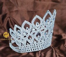 World Pageant Large Tiara Crown Clear Rhinestone Headpiece Bridal Party Costumes