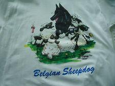 NEW men's size Large White Belgian Sheepdog Dog Cartoon Tee Shirt