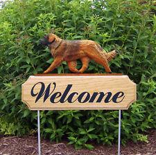 Leonberger Dog Breed Oak Wood Welcome Outdoor Yard Sign